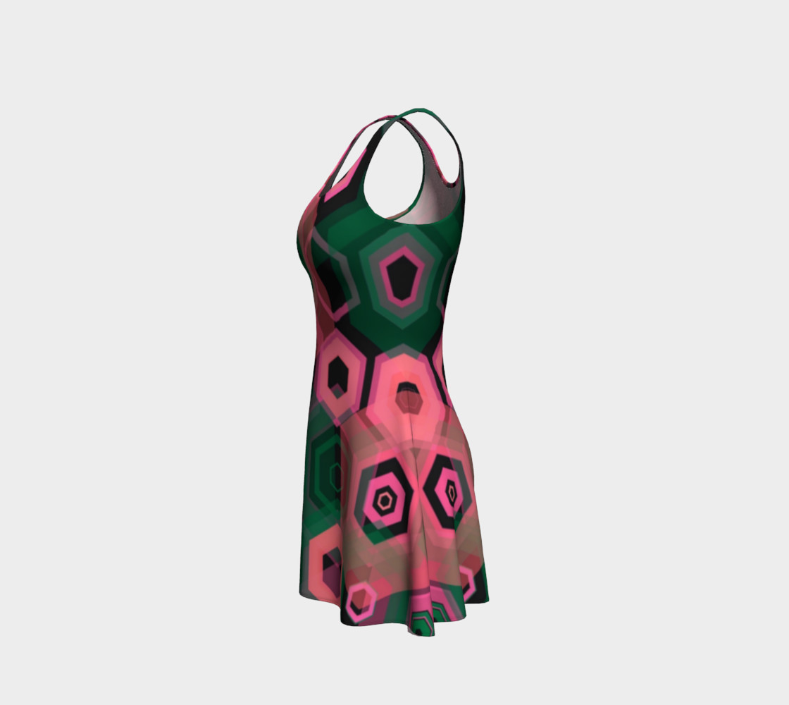 So Retro Pink Abstract Flare Dress  preview #2