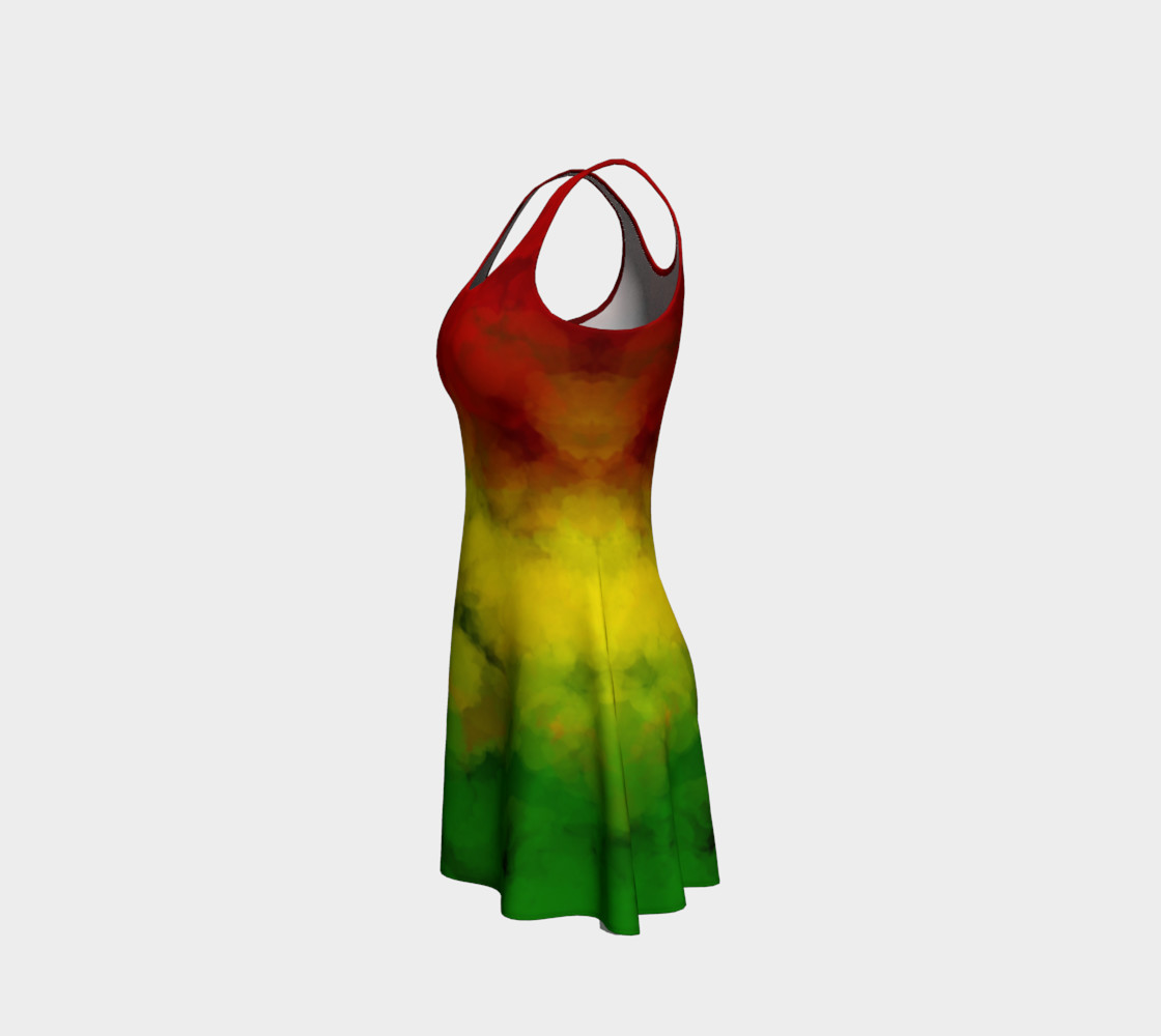 Rasta Watercolor Flare Dress  preview #2
