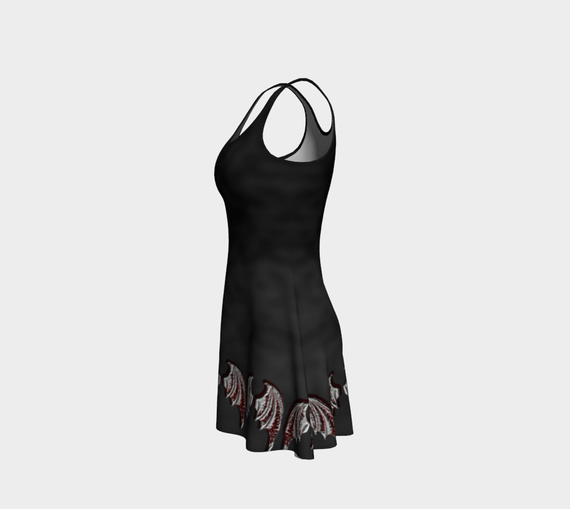 Aperçu de Vampire Wings Border Gothic Flare Dress by Tabz Jones #2