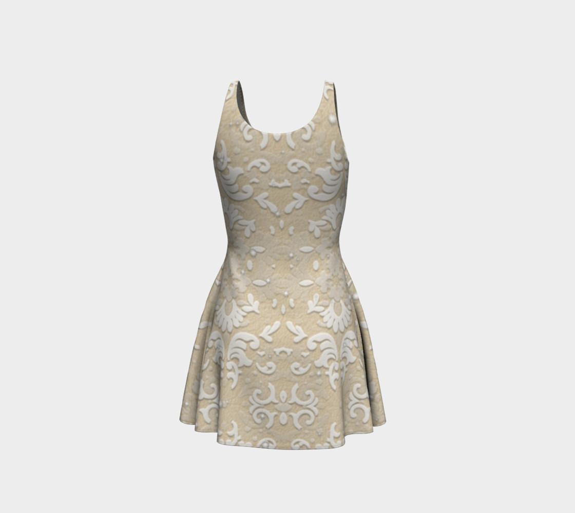 Aperçu de White Glitter Lace Print Dress by Tabz Jones #3