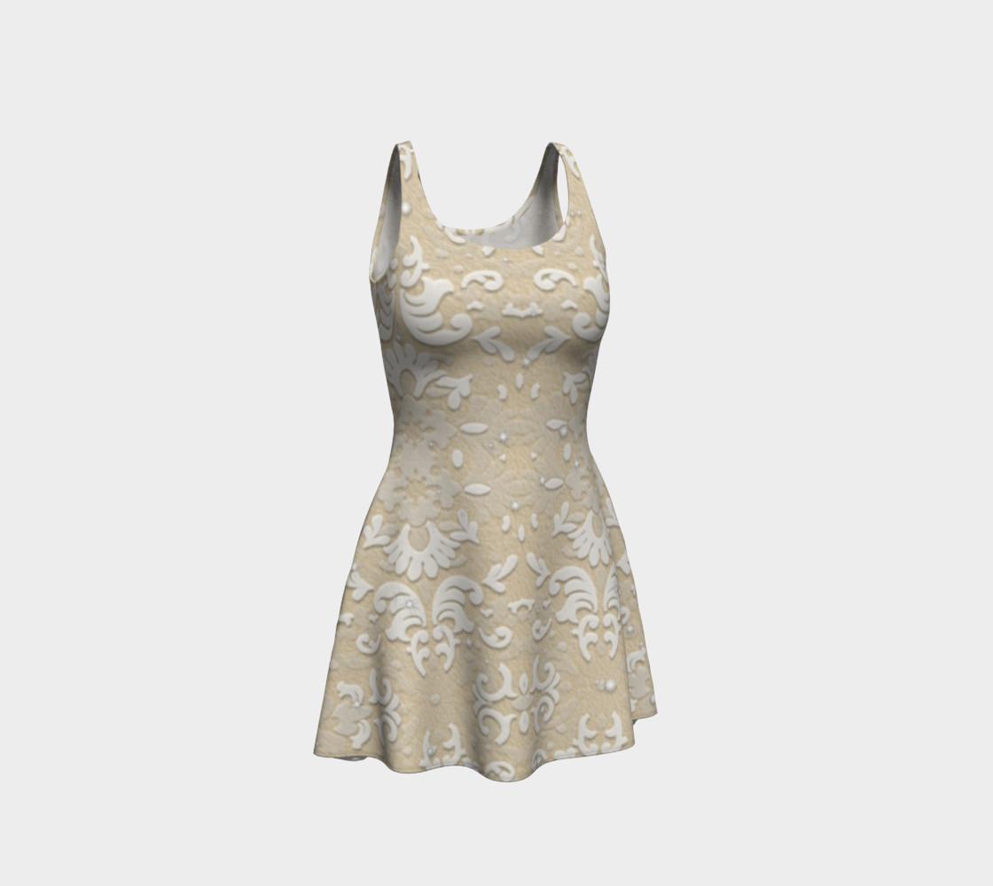 Aperçu de White Glitter Lace Print Dress by Tabz Jones #1