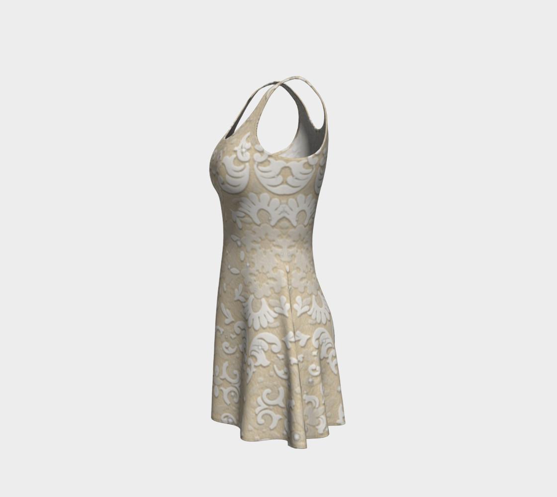 Aperçu de White Glitter Lace Print Dress by Tabz Jones #2