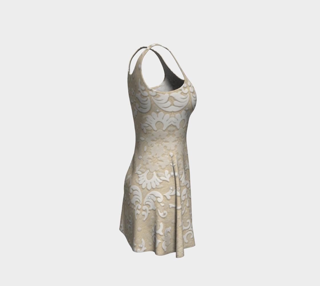 Aperçu de White Glitter Lace Print Dress by Tabz Jones #4