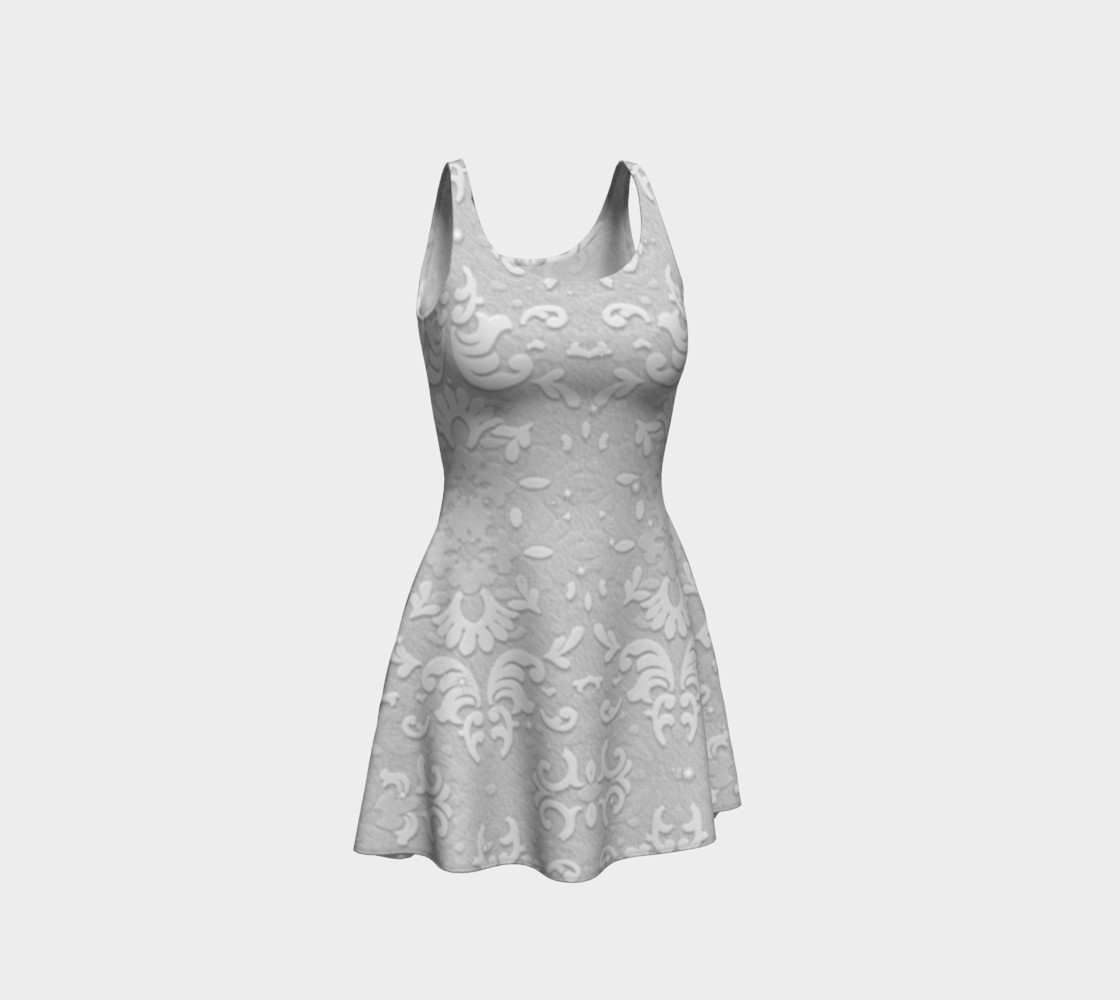 Aperçu de White Wedding Lace Print Dress by Tabz Jones #1
