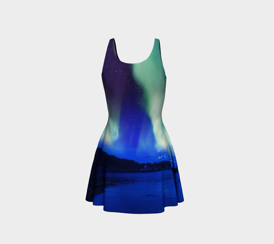 Aperçu de Electric Blue Northern Lights Flare Dress #2 #3