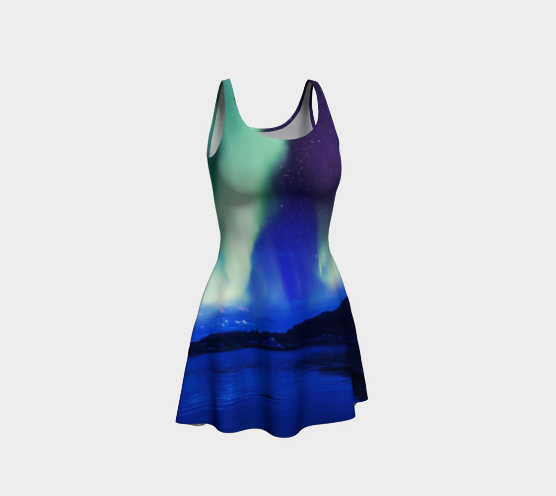 Electric Blue Northern Lights Flare Dress #2 preview #1