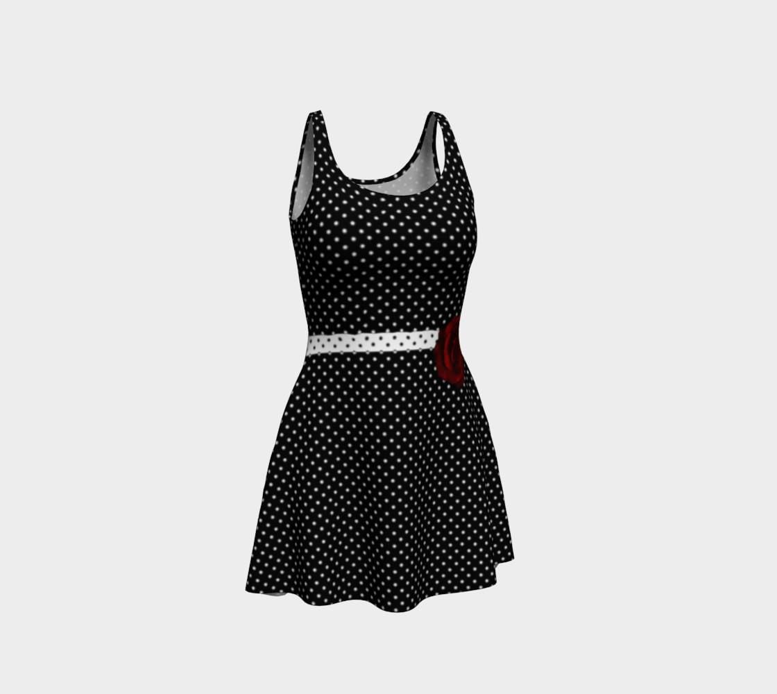 Aperçu de Red Rose Polka Dots Rockabilly Dress by Tabz Jones #1
