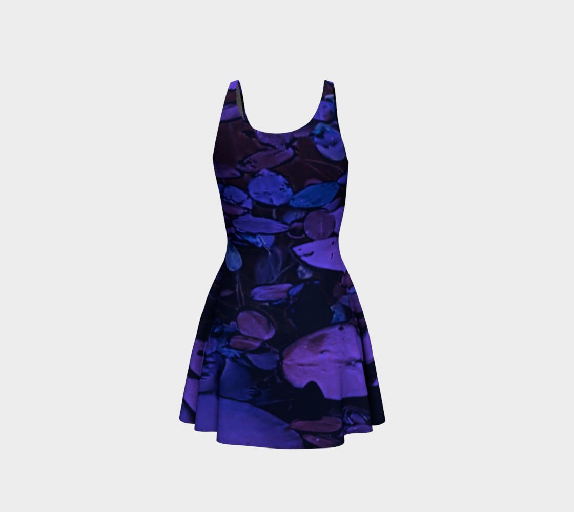 Aperçu de Pond Leaves Purple Blue Flare Dress #3