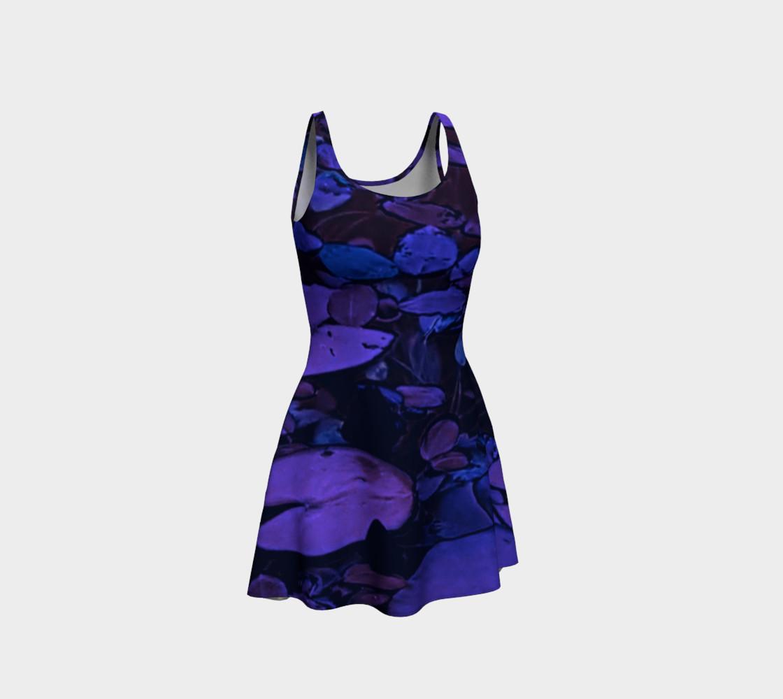 Aperçu de Pond Leaves Purple Blue Flare Dress #1