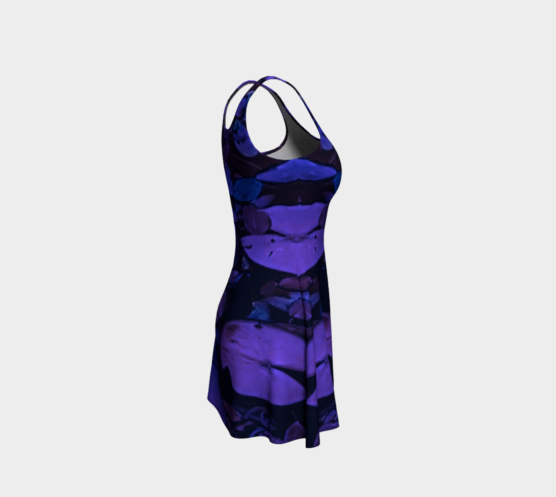 Aperçu de Pond Leaves Purple Blue Flare Dress #4