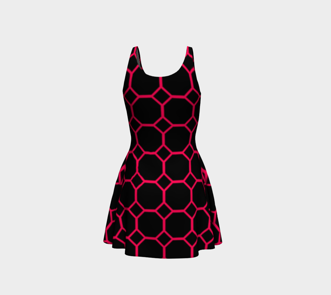 Hot Pink Honeycomb Flare Dress preview #3