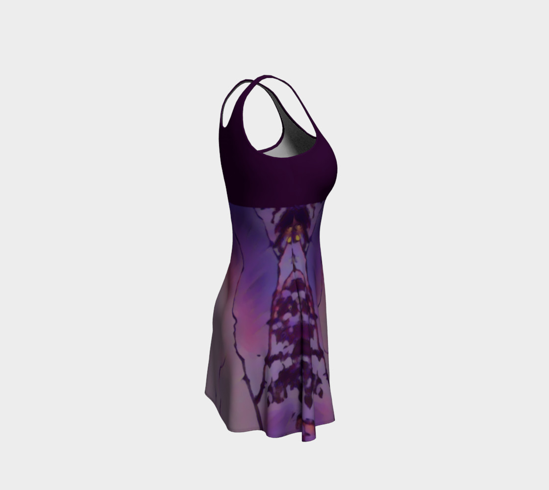 Bird in Flight Dress - Purple Miniature #5