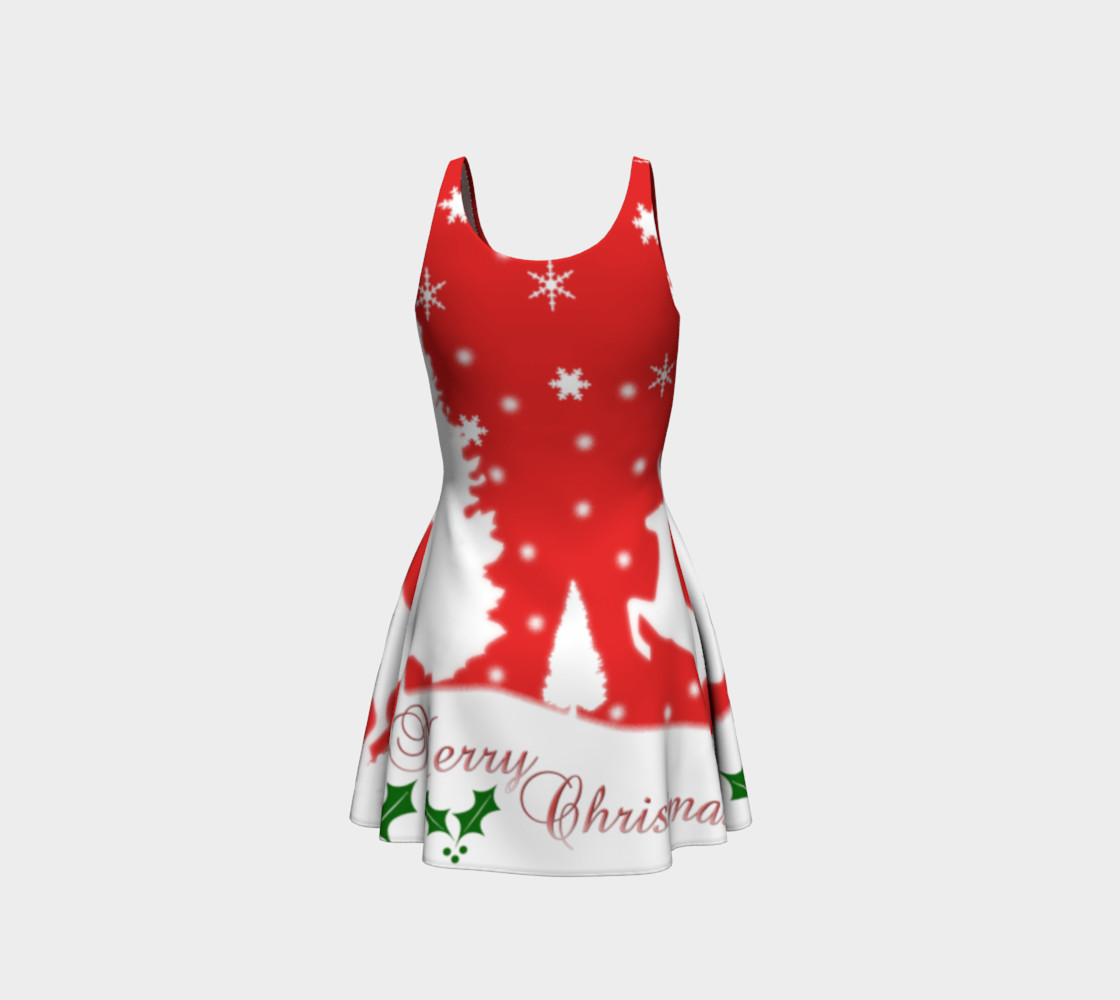 Merry Christmas Winter Snowflakes Flare Dress preview #3