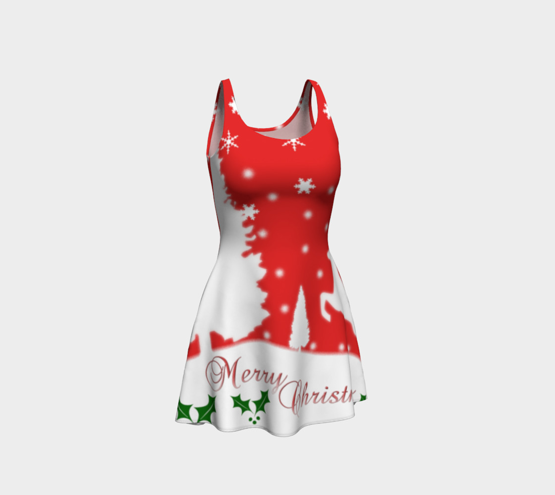 Merry Christmas Winter Snowflakes Flare Dress preview #1