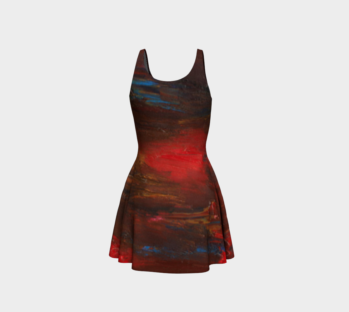 Crimson Ocean Flare Dress preview #3