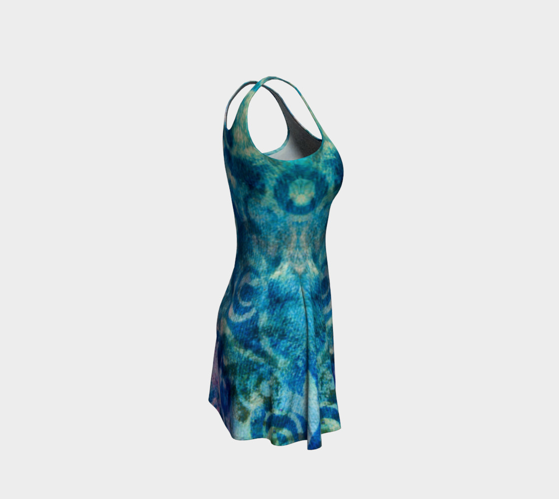 Blue Swirl Variation Flare Dress preview #4