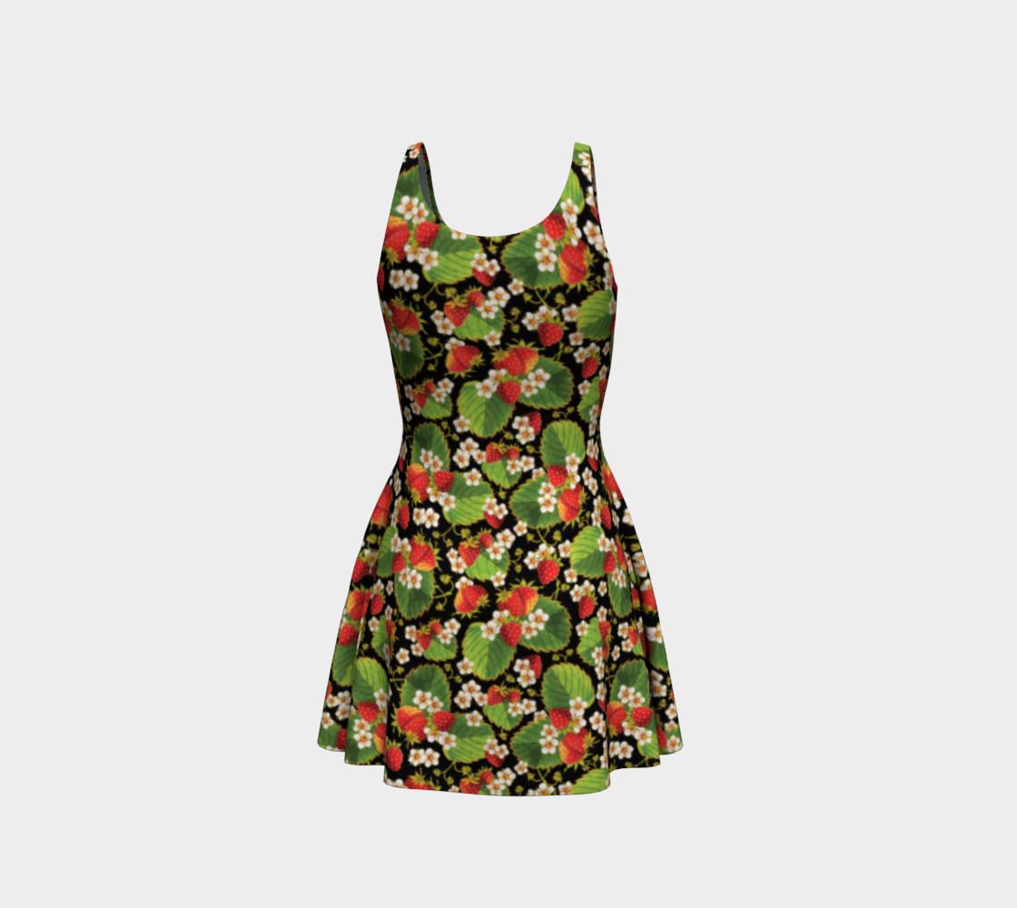 Aperçu de Strawberries on Black Flare Dress #3