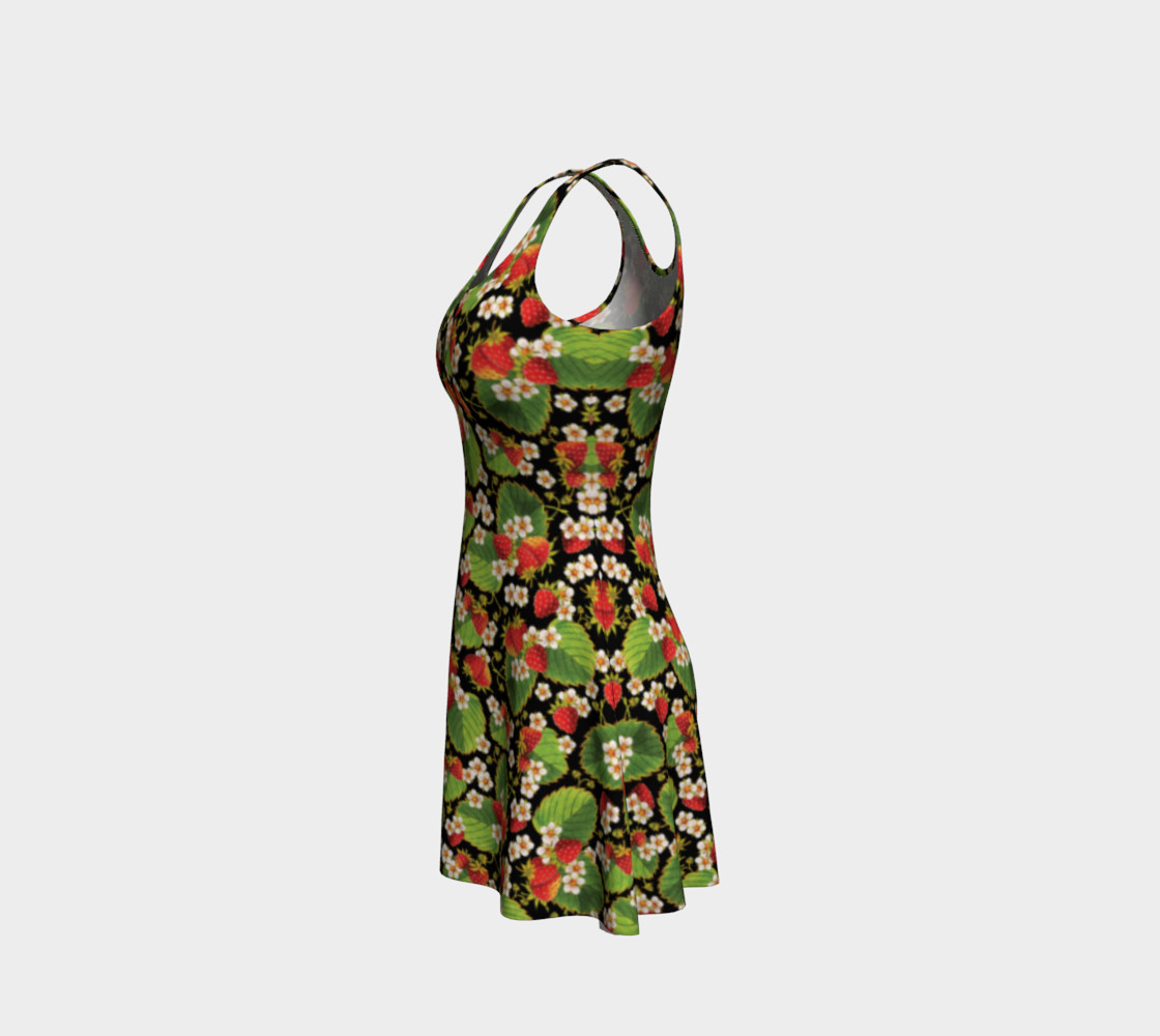 Aperçu de Strawberries on Black Flare Dress #2