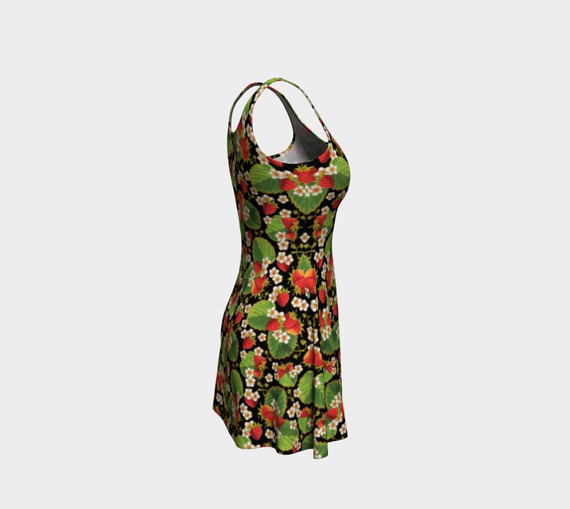 Aperçu de Strawberries on Black Flare Dress #4