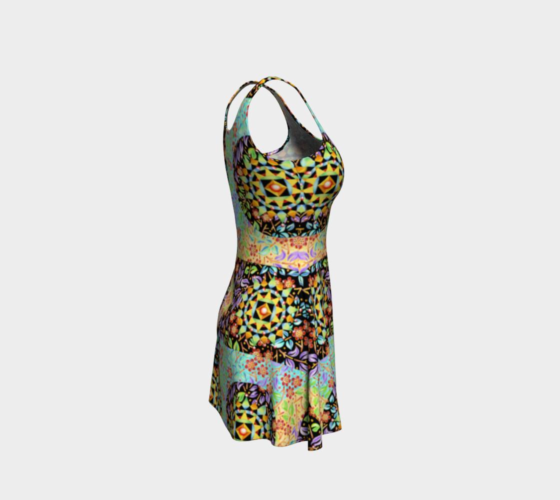 Aperçu de Filigree Floral Patchwork Flare Dress #4