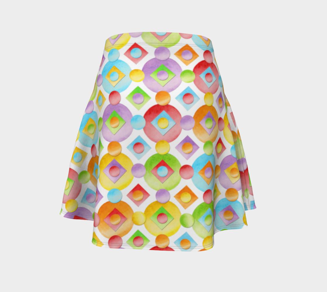 Aperçu de Happy Rainbow Dots Flare Skirt #4