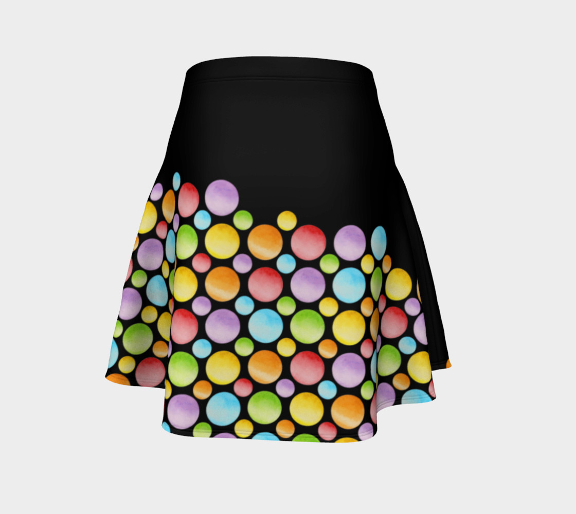 Aperçu de Rainbow Polka Dots Flare Skirt placement #4