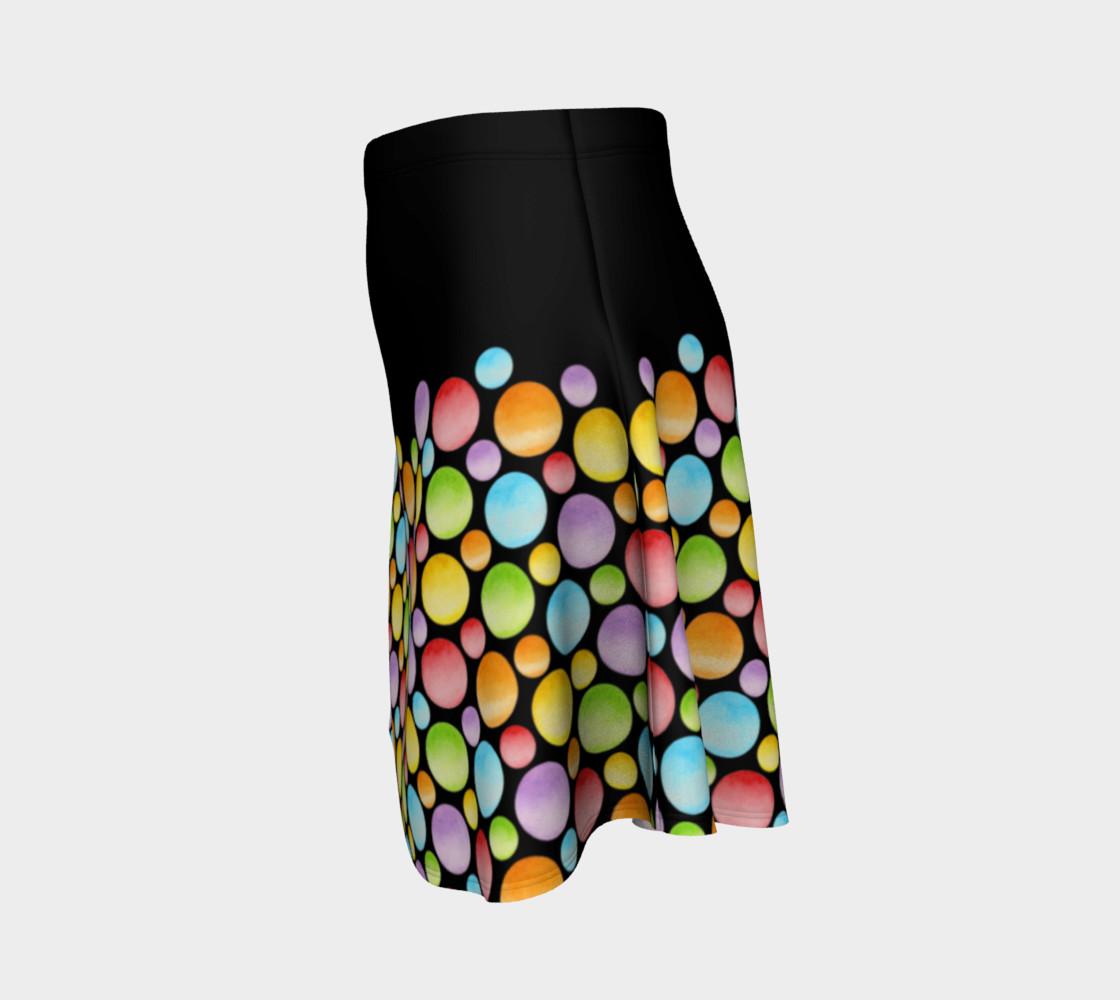 Aperçu de Rainbow Polka Dots Flare Skirt placement #2