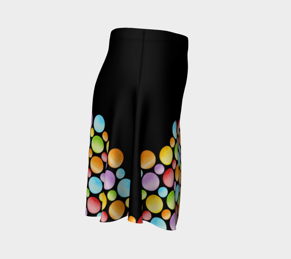 Aperçu de Rainbow Polka Dots Flare Skirt placement #3