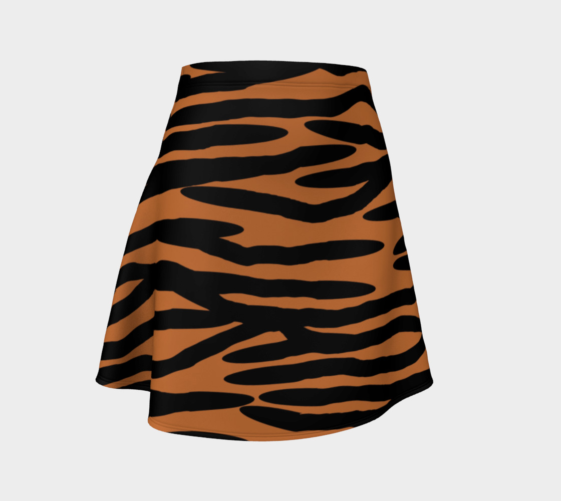 Aperçu de Tiger Skin Pattern Flare Skirt #1