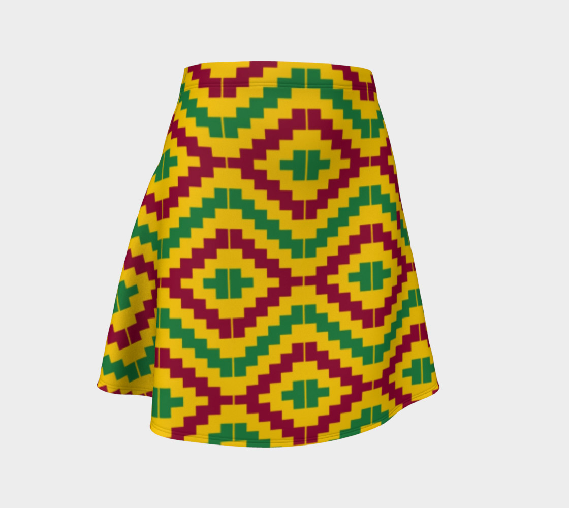 African Kente Print Flare Skirt 3D preview