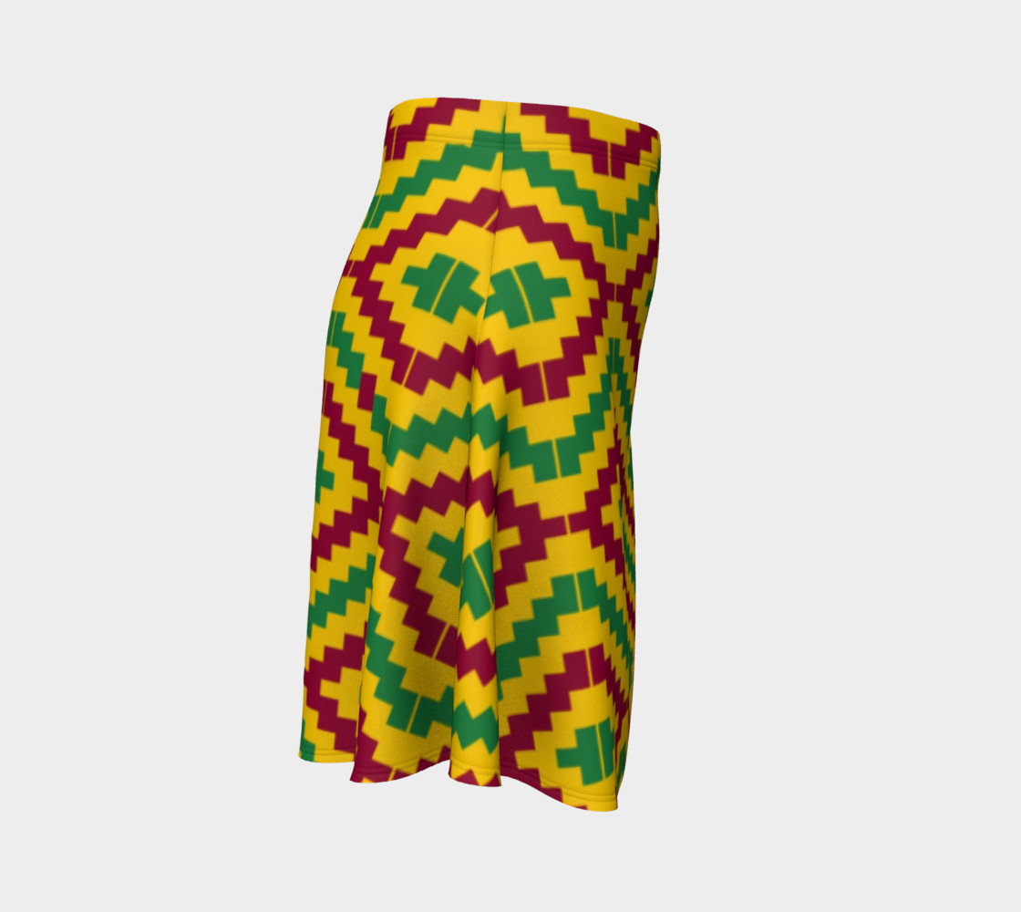 African Kente Print Flare Skirt preview #3