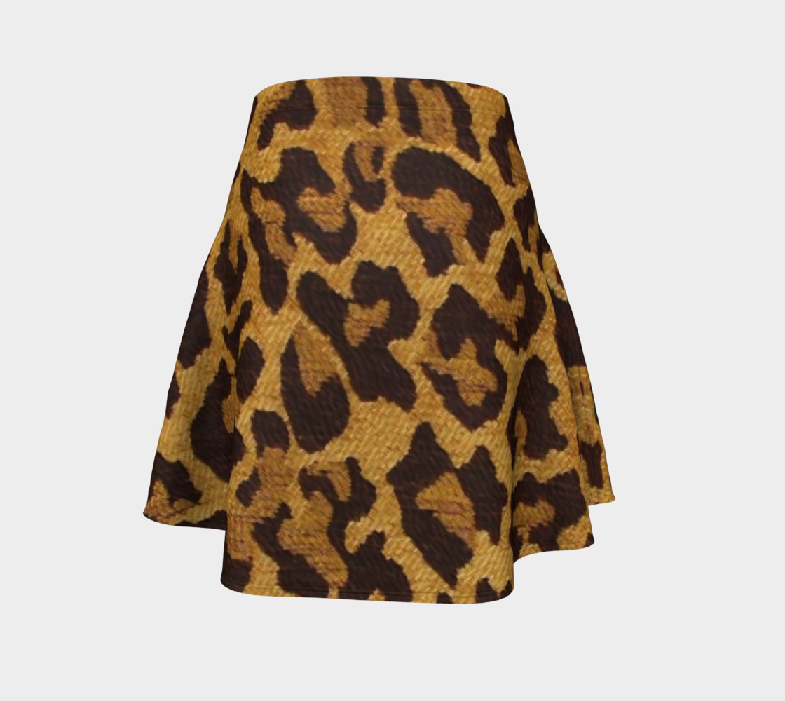Brown and Gold Leopard Print Flare Skirt preview #4