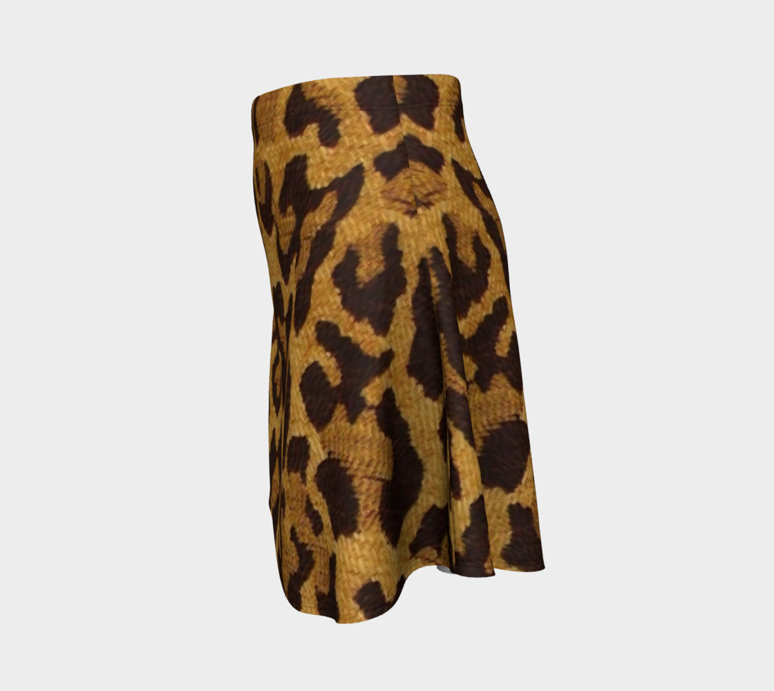 Brown and Gold Leopard Print Flare Skirt preview #2