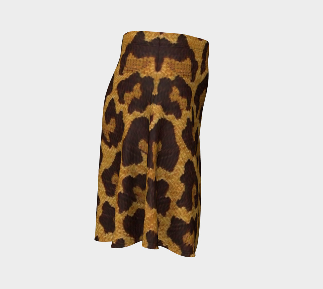 Brown and Gold Leopard Print Flare Skirt preview #3