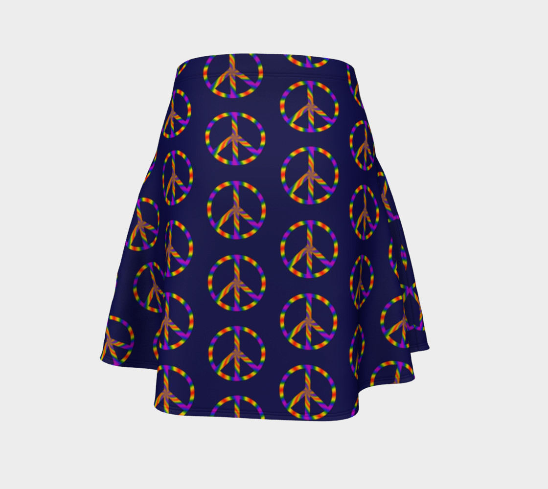 Rainbow Peace Sign Flare Skirt preview #4