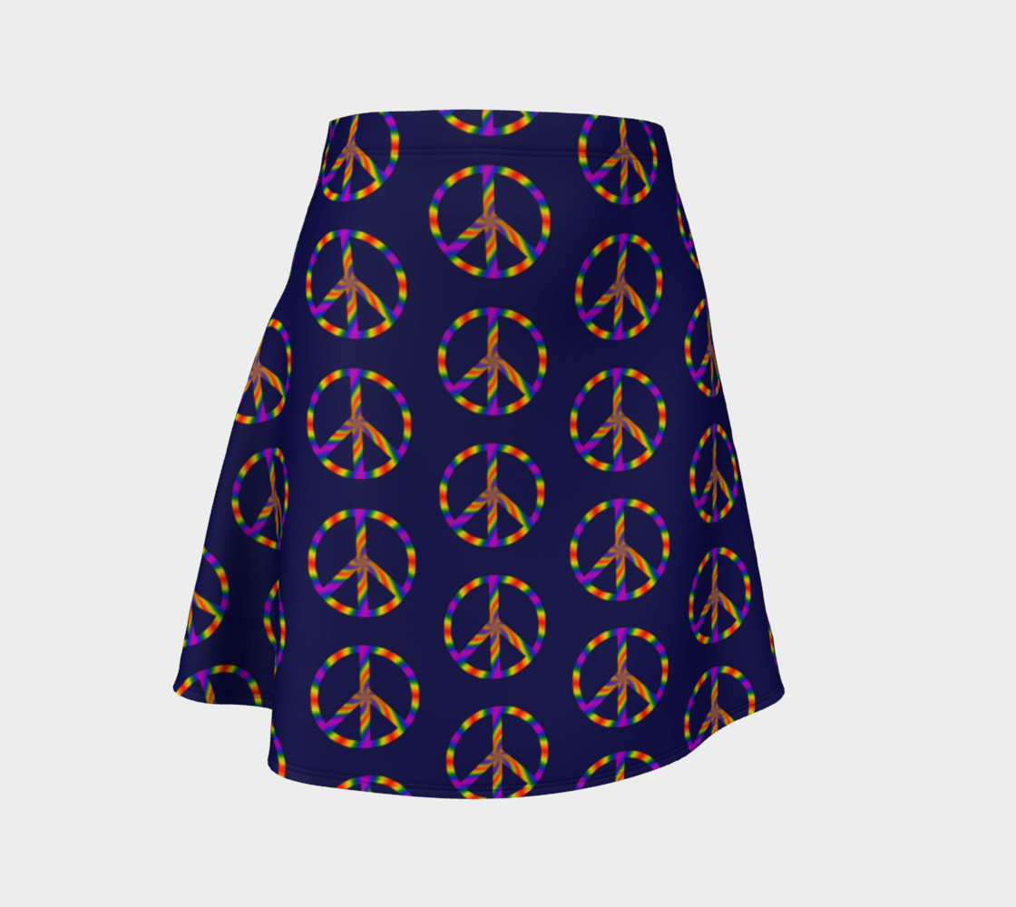 Rainbow Peace Sign Flare Skirt preview #1