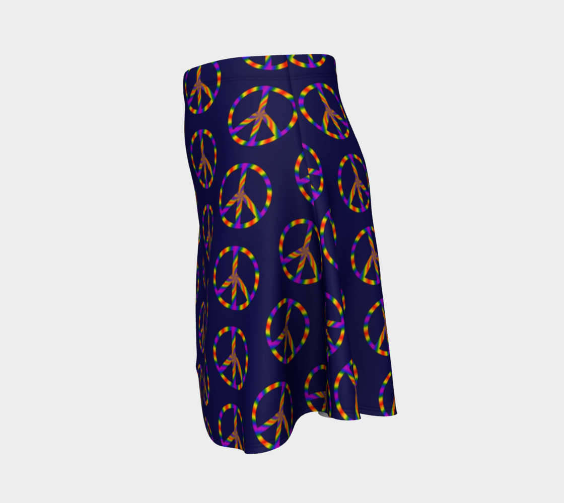 Rainbow Peace Sign Flare Skirt preview #2