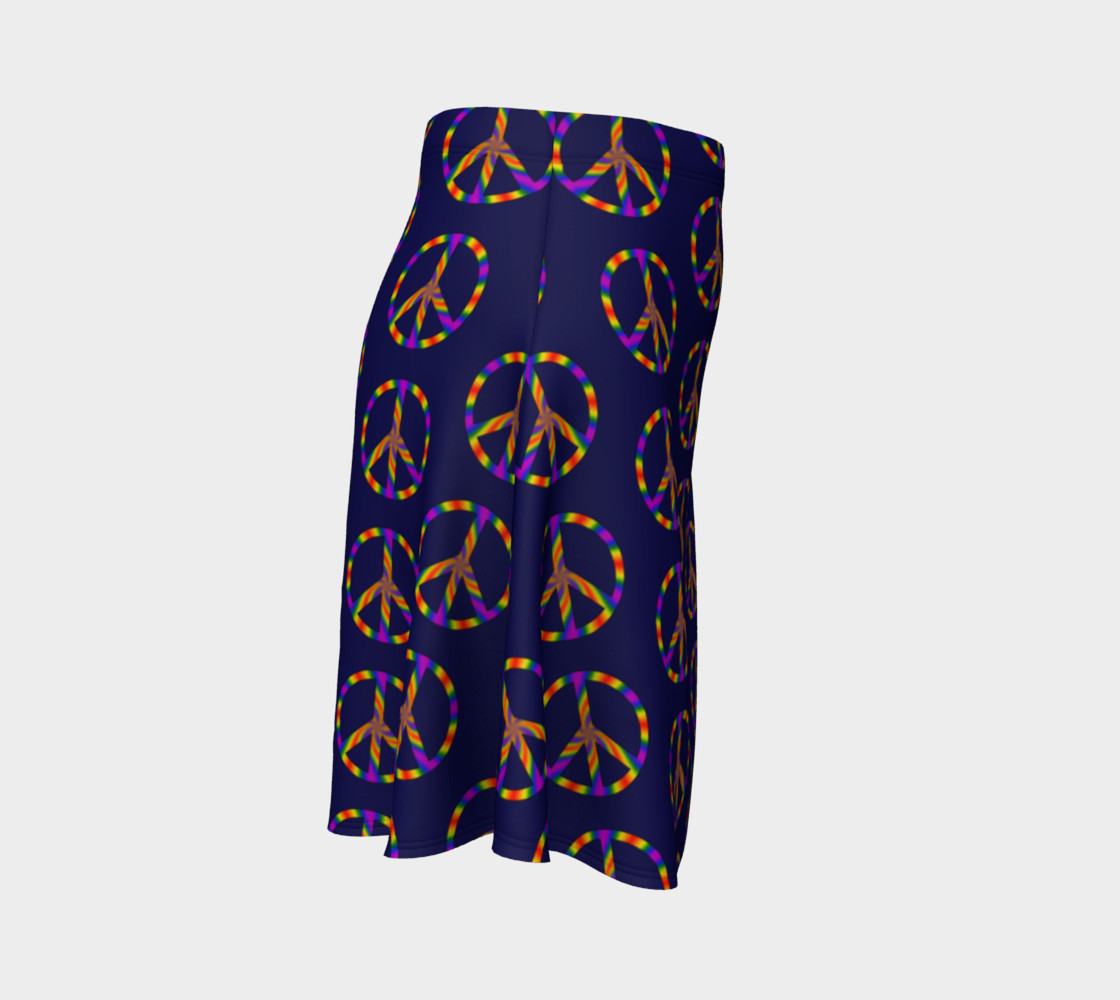 Rainbow Peace Sign Flare Skirt preview #3