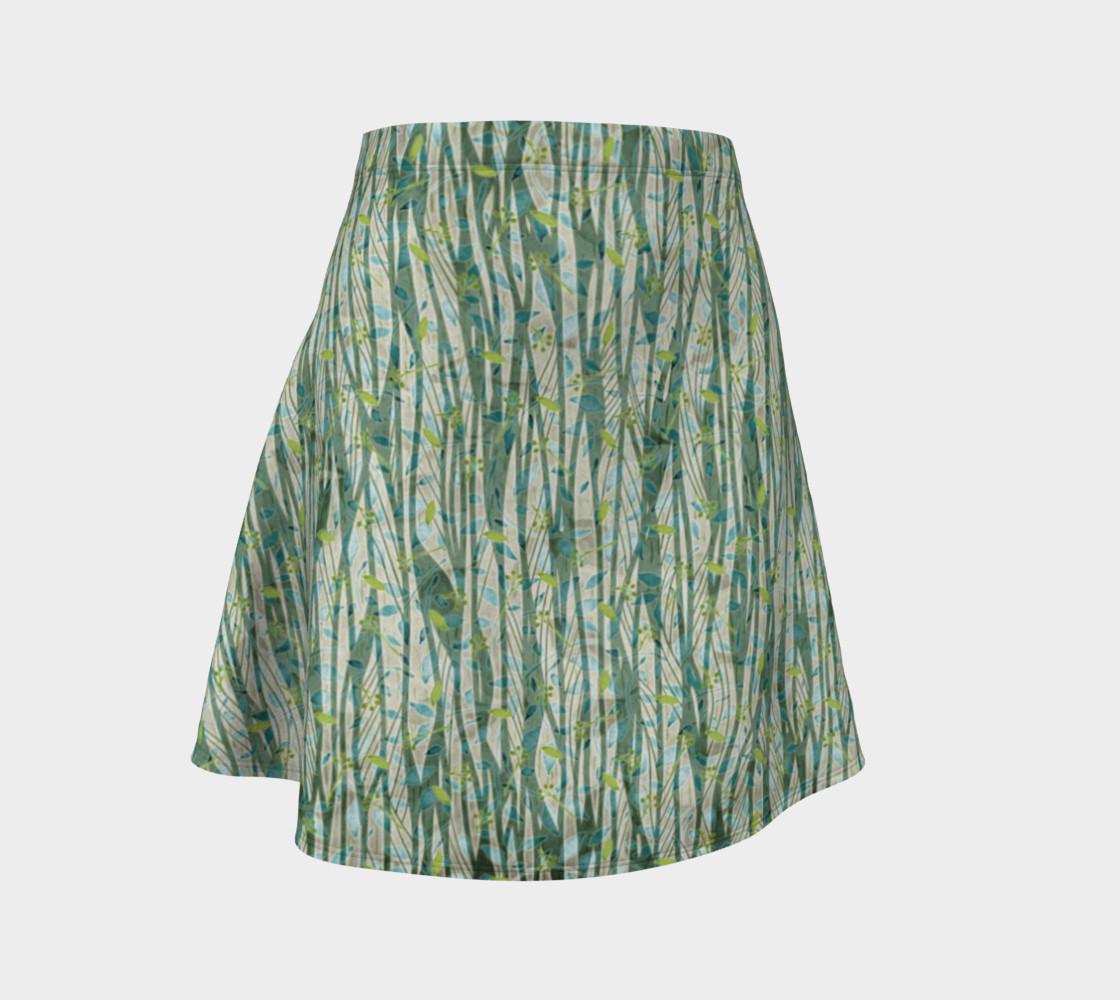 Aperçu de Blue Green Black Nature Floral Flare Skirt #1