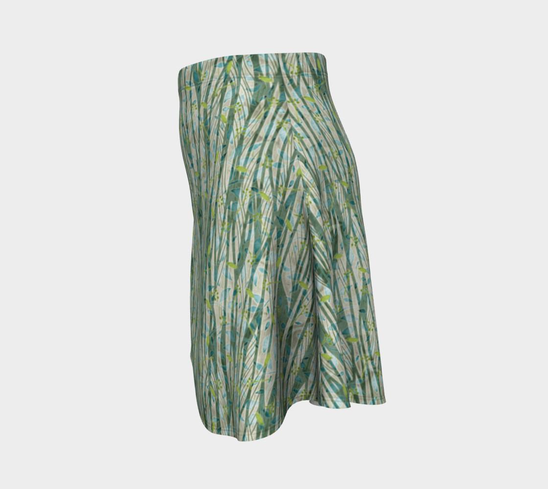 Aperçu de Blue Green Black Nature Floral Flare Skirt #2