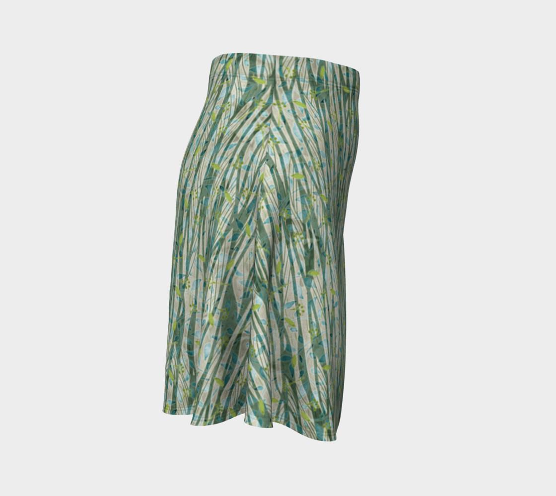 Aperçu de Blue Green Black Nature Floral Flare Skirt #3