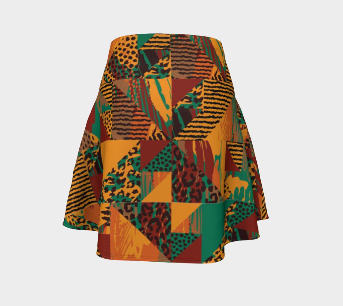 Abstract Safari Print Flare Skirt preview #4