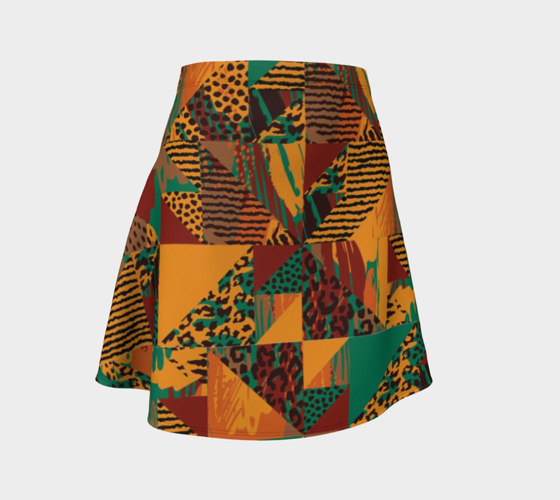 Abstract Safari Print Flare Skirt preview #1