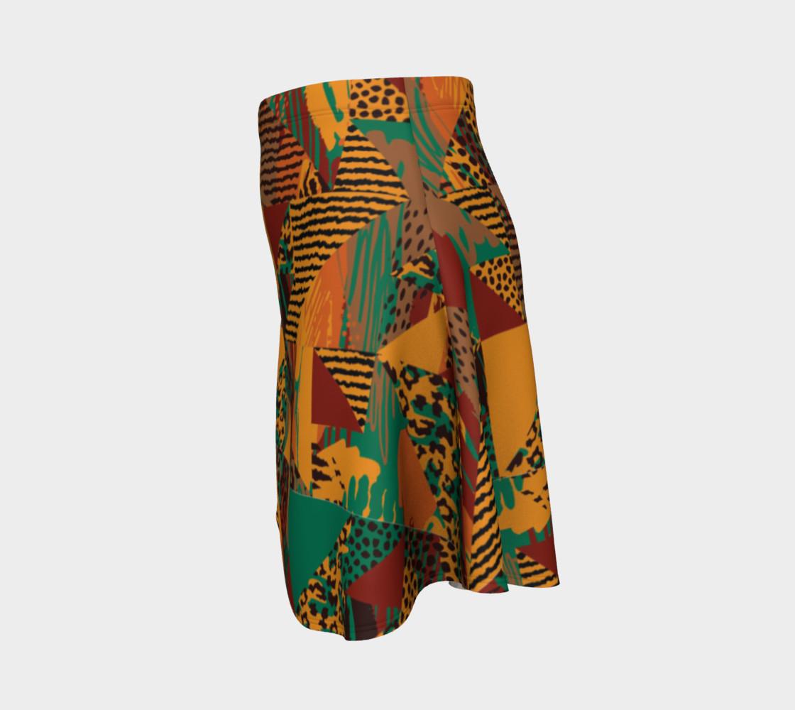 Abstract Safari Print Flare Skirt preview #2