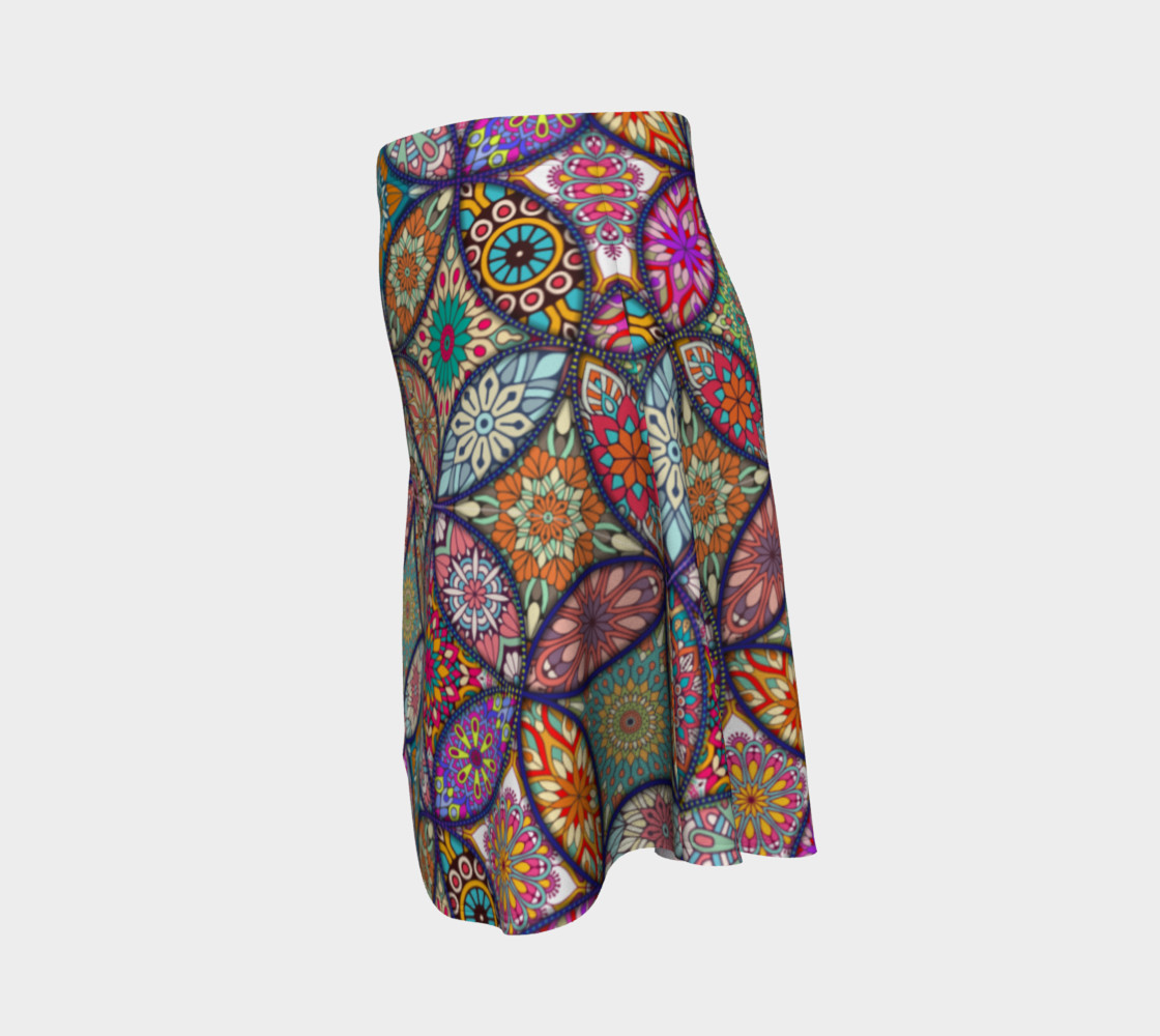 Vibrant Mandalas Flare Skirt preview #2