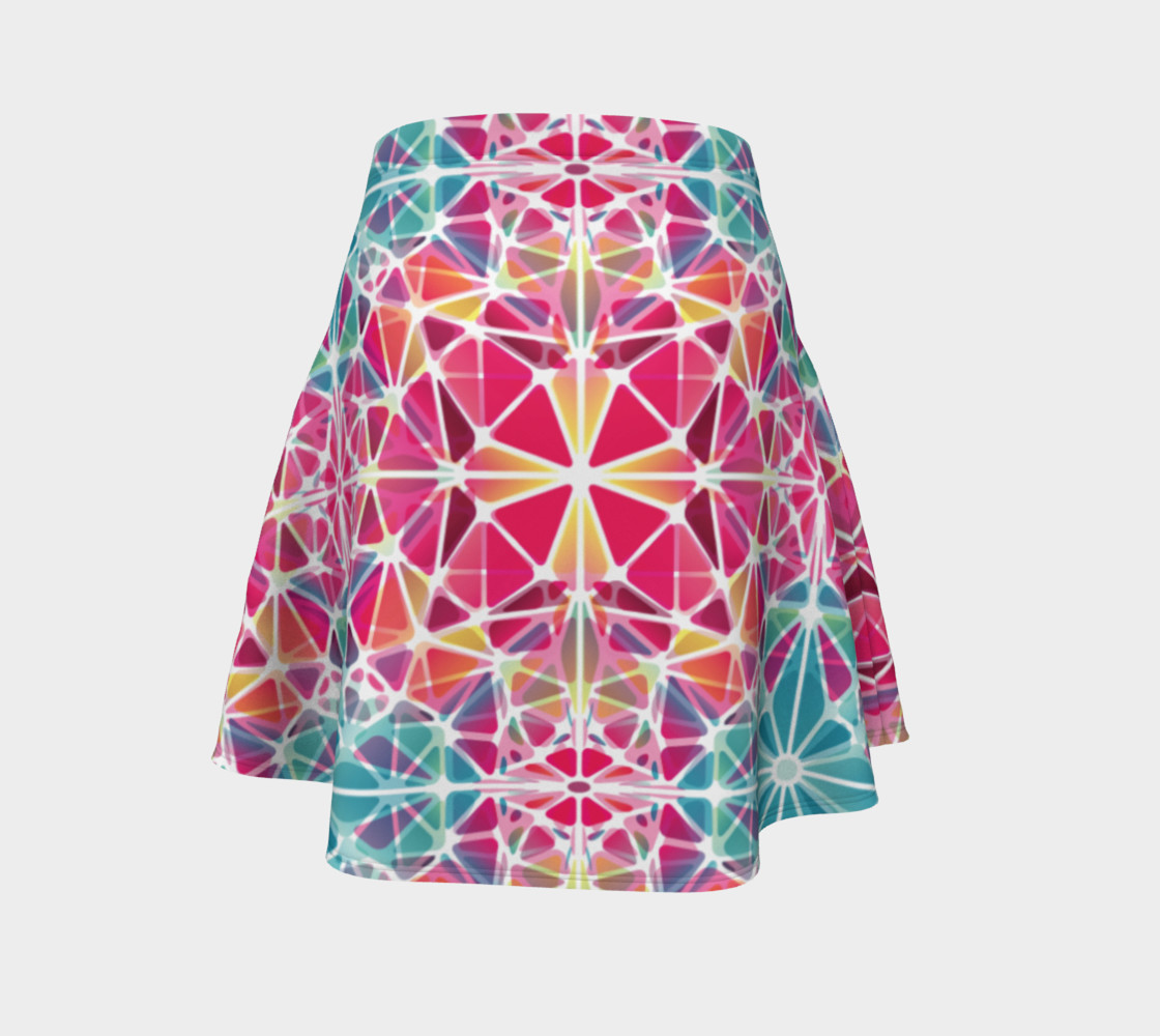 Pink and Blue Kaleidoscope Flare Skirt preview #4