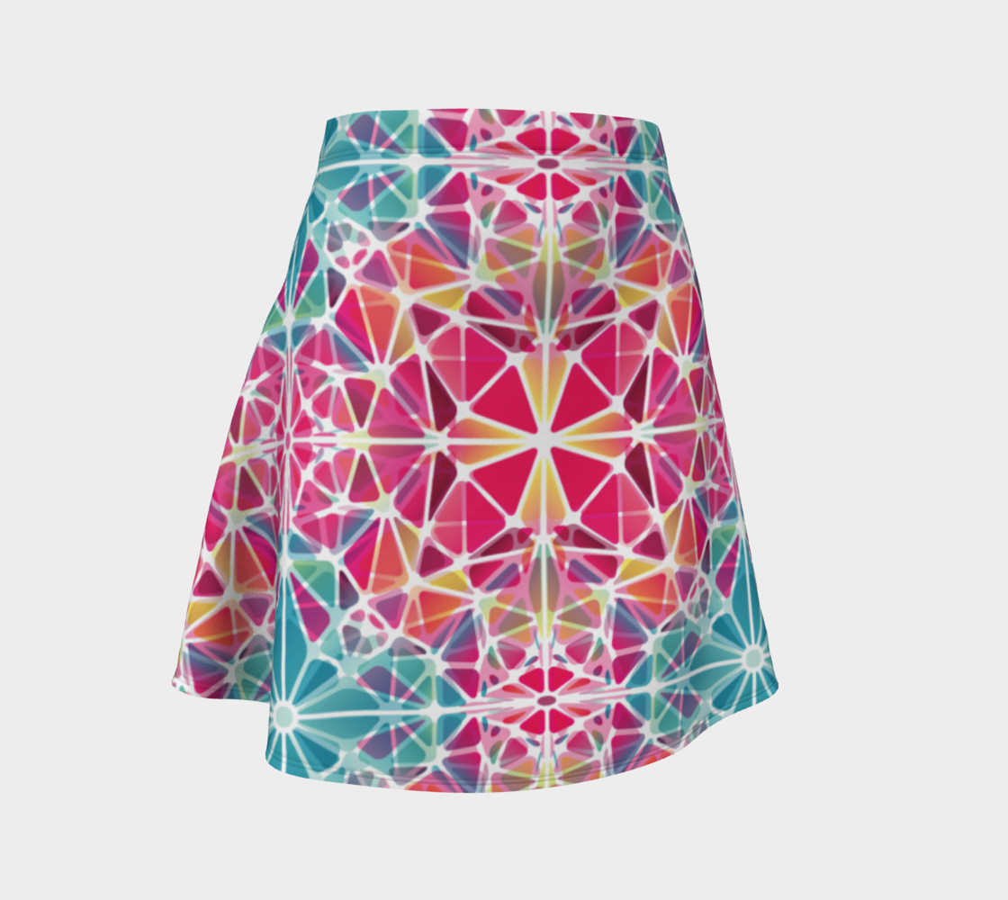 Pink and Blue Kaleidoscope Flare Skirt preview #1