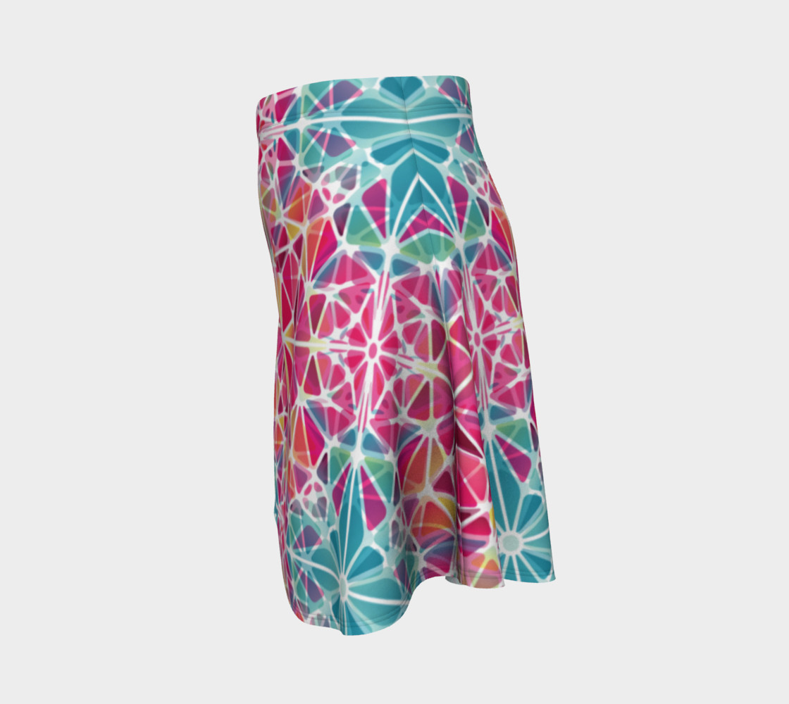 Pink and Blue Kaleidoscope Flare Skirt preview #2
