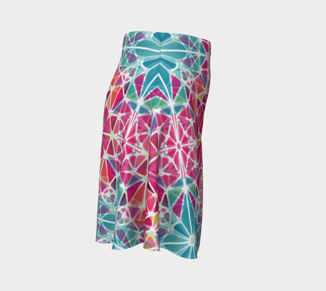 Pink and Blue Kaleidoscope Flare Skirt preview #3