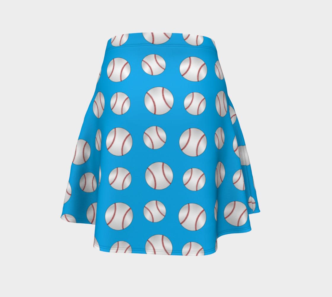 Sky blue baseball pattern skirt preview #4